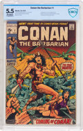 Bronze Age (1970-1979):Adventure, Conan the Barbarian #1 (Marvel, 1970) CBCS FN- 5.5 Off-white pages....