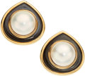 Estate Jewelry:Earrings, Mabe Pearl, Mother-Of-Pearl, Gold Earrings, Marina B.. ...