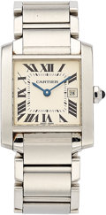 Estate Jewelry:Watches, Cartier Lady's Stainless Steel Tank Francaise Watch