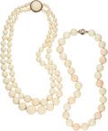Estate Jewelry:Necklaces, Coral, Gold Necklaces . ... (Total: 2 Items)
