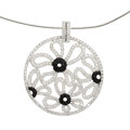 Estate Jewelry:Pendants and Lockets, Diamond, Black Onyx, White Gold Pendant-Necklace . ...
