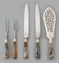 Five George III Silver and Agate-Mounted Flatware Serving Pieces, London, late 18th-early 19th century Marks: (lio