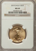 Modern Bullion Coins, 2010 $25 Half-Ounce Gold Eagle MS69 NGC. NGC Census: (4016/2478). PCGS Population: (18/25). ...