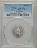 Early Half Dimes, 1797 H10C 15 Stars, V-2, LM-1, R.3 -- Cleaned -- PCGS Genuine. FineDetails....