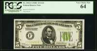 Fr. 1953-F $5 1928C Federal Reserve Note. PCGS Very Choice New 64