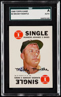 Baseball Cards:Singles (1950-1959), 1968 Topps Game Mickey Mantle #2 SGC Authentic - Unprocessed SquareCorners. ...