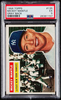 Baseball Cards:Singles (1950-1959), 1956 Topps Mickey Mantle (Gray Back) #135 PSA EX 5....
