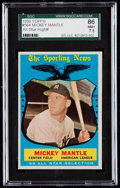Baseball Cards:Singles (1950-1959), 1959 Topps Mickey Mantle All-Star #564 SGC 86 NM+ 7.5.. ...