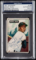 Autographs:Sports Cards, Signed 1951 Bowman Monte Irvin #198 PSA/DNA Authentic. ...