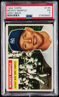 Baseball Cards:Singles (1950-1959), 1956 Topps Mickey Mantle #135 PSA EX 5....