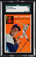Baseball Cards:Singles (1950-1959), 1954 Topps Ted Williams #1 SGC 60 EX 5....