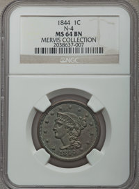 1844 1C N-4, R.1, MS64 Brown NGC. Ex: Mervis Collection. NGC Census: (2/1). PCGS Population: (1/0). MS64. Mintage 2,398...