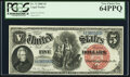 Large Size:Legal Tender Notes, Fr. 73 $5 1880 Legal Tender PCGS Very Choice New 64PPQ.