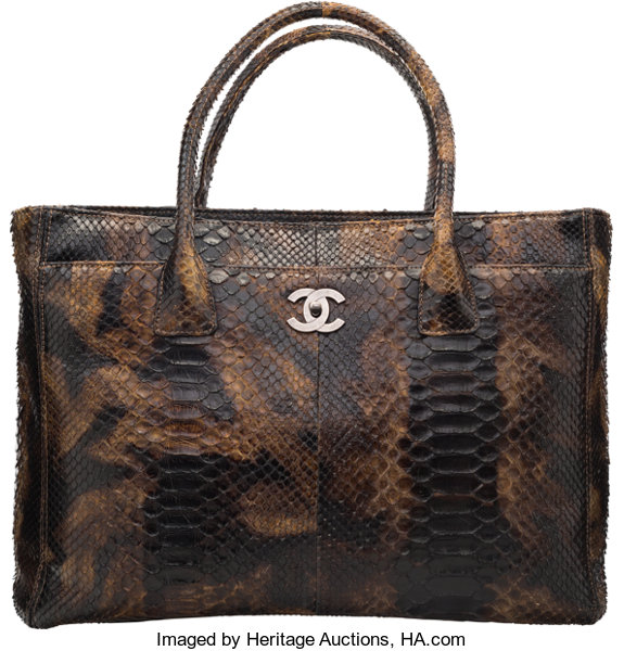 2cf4f957ee93 Luxury Accessories:Bags, Chanel Brown Python Cerf Tote Bag. Condition: 3.
