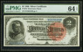 Large Size:Silver Certificates, Fr. 242 $2 1886 Silver Certificate PMG Choice Uncirculated 64 EPQ.. ...