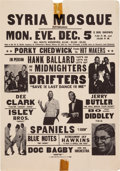 Music Memorabilia:Posters, Bo Diddley/Hank Ballard And The Midnighters Syria Mosque ConcertHandbill (1960). Very Rare....