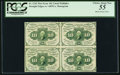 Fractional Currency:First Issue, Fr. 1242 10¢ First Issue Block of Four Notes PCGS Choice About New55.. ...