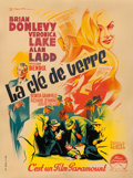 "Movie Posters:Film Noir, The Glass Key (Paramount, 1948). First Post-War Release FrenchMoyenne (23.25"" X 31"") Roger Soubie Artwork.. ..."