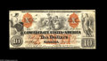 Confederate Notes:1861 Issues, T22 $10 1861. A much above average example with superior margins for this usually tightly cut issue. The orange overprint is...