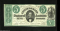 Confederate Notes:1861 Issues, T33 $5 1861. A remarkable example of this scarce type that is many times rarer, especially in high grade, than the more ofte...