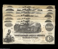 Confederate Notes:1862 Issues, Confederate 1862 Hundreds including T39 (2), CT39, and T40 (4). TheC-notes in this lot grade from Fine to AU. The CT39 ... (7 notes)