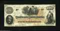 Confederate Notes:1862 Issues, T41 $100 1862. This beautiful C-note printed on CSA blockwatermarked paper has black, red, and blue Interest Paid stampson...
