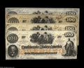 Confederate Notes:1862 Issues, T41 $100 1862 Four Examples. The VF example is a trans-MississippiSan Antonio issue. The AU note has toned a shade,... (4 notes)