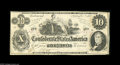 Confederate Notes:1862 Issues, T46 $10 1862. This T-46 has a corner tip fold, along with a fold atright edge, as well as a couple of tiny pinholes. Abou...