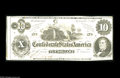 Confederate Notes:1862 Issues, T46 $10 1862. Interesting cut that shows another note on the left.A couple of folds and handling are observed, along with ...