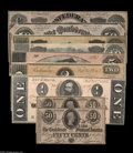 Confederate Notes:1863 Issues, Nine Different Confederate Notes including T63 CU, T65 AU, T66 CU, T67 XF, T68 CU, T69 AU, T70 AU... (9 notes)