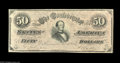 Confederate Notes:1864 Issues, CT66/501 $50 1864. This note has very crisp surfaces and several light folds making this one nice Havana counterfeit. Extr...