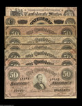 Confederate Notes:Group Lots, T64 $500 1864. About Uncirculated, staining and writing on back.T65 $100 1864. Very Fine. T66 $50 1864 (6). Very ... (8 notes)