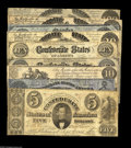 Confederate Notes:Group Lots, Nine 1861 Confederate Notes including T13 VF; T14 CU; T16 Fine,COC; T18 AU, ink erosion; T25 VG, repair... (9 notes)