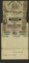 Confederate Notes:Group Lots, 1912 Treasury Department Dispersal Letter with Notes. T18 $20 1861VG, CC T28 $10 1861 VG, CC T30 $10 1861 VG, ... (7 items)