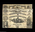 Confederate Notes:Group Lots, Confederate 1861 Issues including T20 $20 Fine, T30 $10 Fine+, andT37 $5 (2) VG+, Fine+. Some of the notes also... (4 notes)