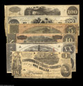Confederate Notes:Group Lots, Johnny Reb Group including T40 $100 1862 F-VF T41 $100 1862 XF-AU,pinholes T44 $1 1862 VG, missing corner ... (6 notes)