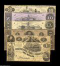 Confederate Notes:Group Lots, Confederate Starter Assemblage including T42 VG, T44 VG, T46 Fine,T51 Fine, T52 CU, and T55 $1 VG. ... (6 notes)