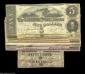 Confederate Notes:Group Lots, Confederate 1863 and 1864 Small Denomination Issues including T60$5 (2) VG; T62 $1 (2) AU; AU, tear; T63 50¢ AU; ... (9 notes)