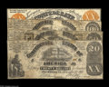Confederate Notes:Group Lots, Four Confederate Counterfeits including XX-1/C, Back C $20 1861 VFCT13/56B $20 1861 VG CT14/64 $50 1861 Good-V... (4 notes)