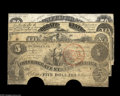 Confederate Notes:Group Lots, Confederate 1861 Issues including T8 $50 Fine, PC, repairs; T18 $20VG; T29 $10 VG; and T36 $5 Good, PC. So... (4 notes)