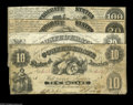Confederate Notes:Group Lots, Confederate 1861 Issues Part Two including T9 $20 Fine, edge tears;T10 $10 Good, repairs; T13 $100 Fine+; and T... (4 notes)
