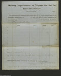 Confederate Notes:Group Lots, Military Impressment of Negroes for the Defence of Georgia Form1863. This fascinating unused form for its stated purpose wa...
