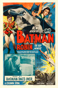 """Movie Posters:Serial, The New Adventures of Batman and Robin (Columbia, 1949). One Sheet (27"""" X 41"""") Chapter 1 -- """"Batman Takes Over."""". ..."""
