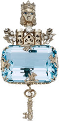 Estate Jewelry:Pendants and Lockets, Aquamarine, Diamond, Sapphire, Gold Pendant, Haus. ...