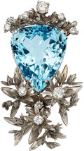 Estate Jewelry:Pendants and Lockets, Aquamarine, Diamond, White Gold Pendant. ...