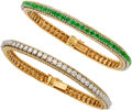 Estate Jewelry:Bracelets, Diamond, Emerald, Gold Bracelets, Neiman Marcus, French. ...