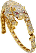 Estate Jewelry:Bracelets, Diamond, Ruby, Gold Bracelet-Brooch. ...