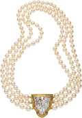 Estate Jewelry:Necklaces, Diamond, Cultured Pearl, Platinum, Gold Necklace. ...