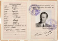 "Movie/TV Memorabilia:Props, A Paul Henreid-Related ""Victor Laszlo"" Prop Passport from ""Casablanca.""..."