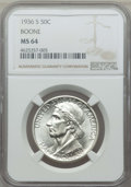 Commemorative Silver, 1936-S 50C Boone MS64 NGC. NGC Census: (195/654). PCGS Population:(361/841). CDN: $160 Whsle. Bid for problem-free NGC/PCG...